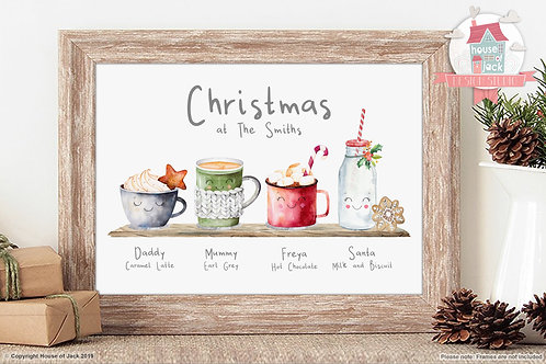 Family Christmas Drinks Personalised Art Print