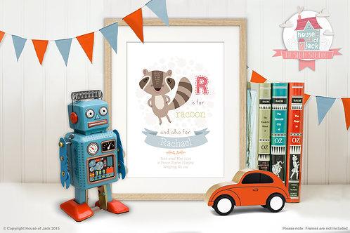 "Animal Alphabet ""R"" Personalised Art Print"