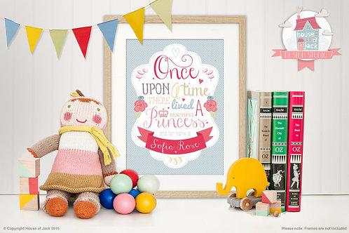 """Once Upon a Princess"" Personalised Art Print"