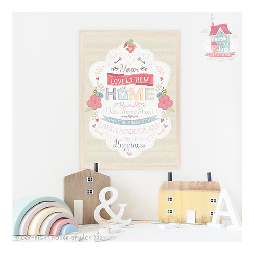 New Home Personalised Art Print