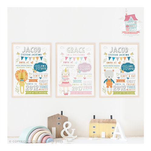 Character Birth Details Personalised Art Print