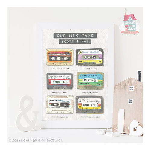 Retro Mix Tapes Personalised Art Print