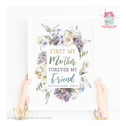 First My Mother Personalised Art Print
