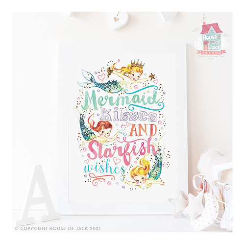 Mermaid Kisses Art Print