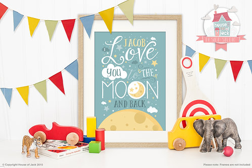 """""""To the Moon & Back Blue"""" Personalised Art Print"""