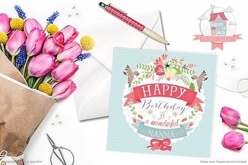 Birthday Nanna Personalised Greetings Card