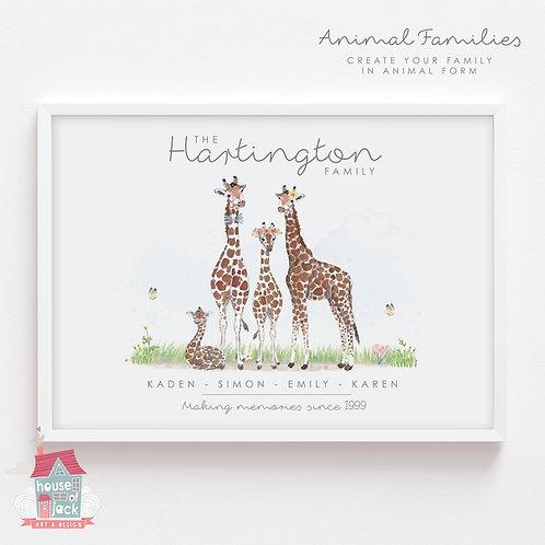 Giraffe Animal Family Portrait Personalised Art Print
