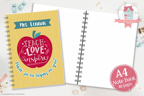Teach Love, Inspire Personalised A4 Notebook