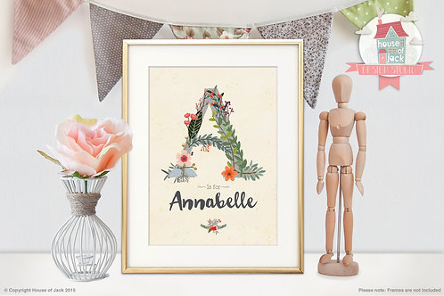 """Floral Initial """"A"""" Personalised Art Print"""