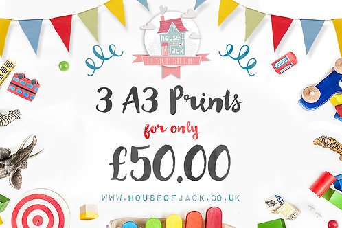 Birthday Special Offer - 3 A3 prints for £50!