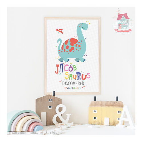 Dino Name Personalised Art Print