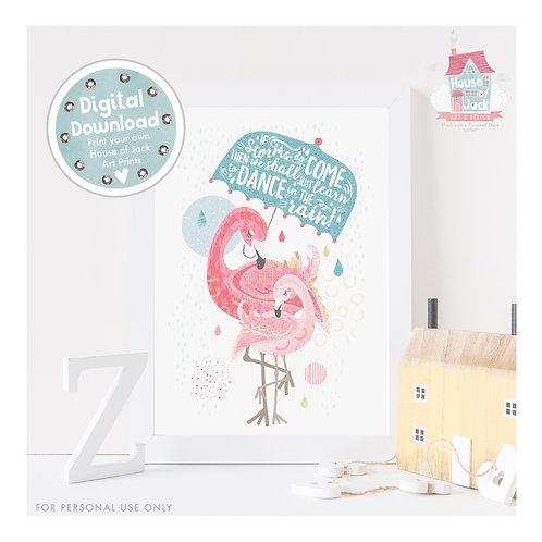 Tropical - Flamingo Dance Digital Art Print