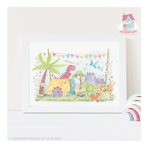 "Animal Birth Details ""Dino Camp"" Personalised Art Print"
