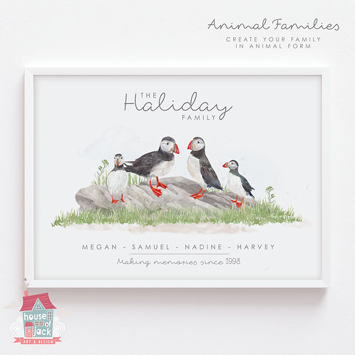 Puffin Animal Family Portrait Personalised Art Print