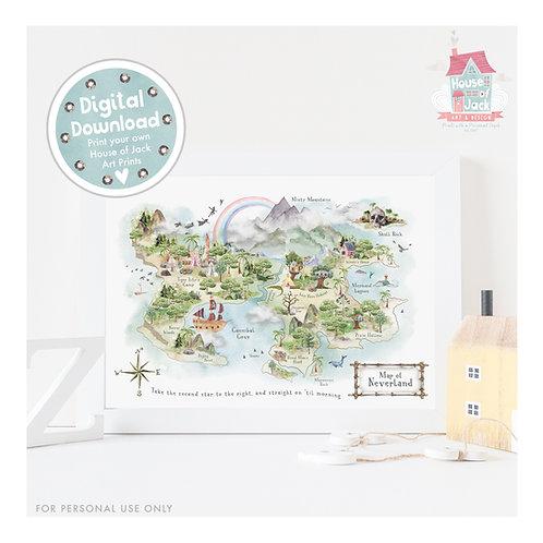 Neverland Map Digital Art Print