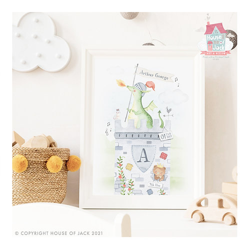 "Animal Birth Details ""Dragon Castle"" Personalised Art Print"