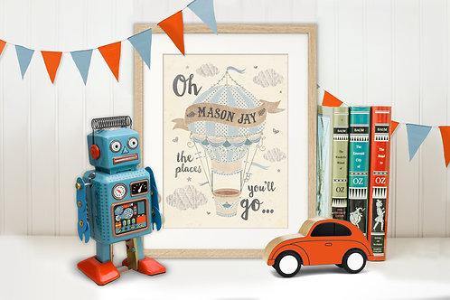 """Balloon Boy"" Personalised Art Print"