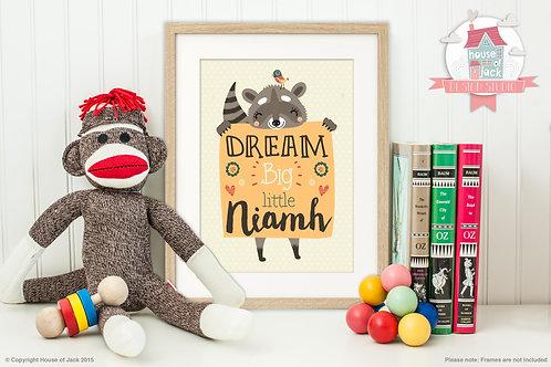 Dream Big Raccoon Personalised Art Print