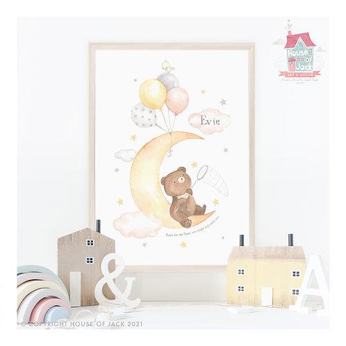 Star Bear Moon Personalised Art Print