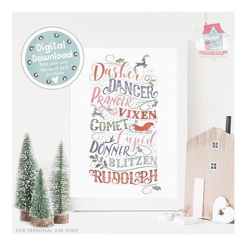 Reindeer Names Digital Art Print