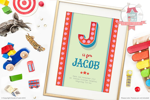 """Circus Initial """"J"""" Personalised Art Print"""