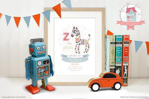 "Animal Alphabet ""Z"" Personalised Art Print"