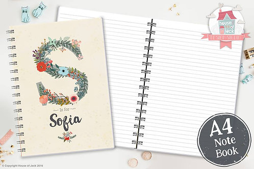 Floral Initial Personalised A4 Notebook