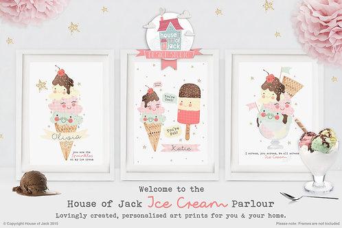 Ice Cream Parlour Personalised Art Print Trio