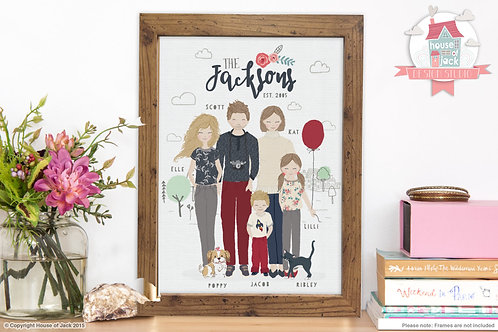 Whimsical Family Portrait (Up to 4 Characters)