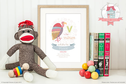"Animal Alphabet ""V"" Personalised Art Print"