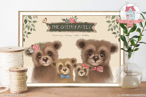Fairy Tale Family Bears Personalised Art Print