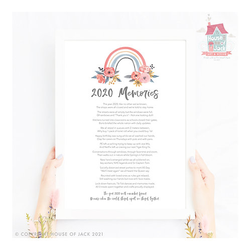 2020 Memories Personalised Art Print Poem