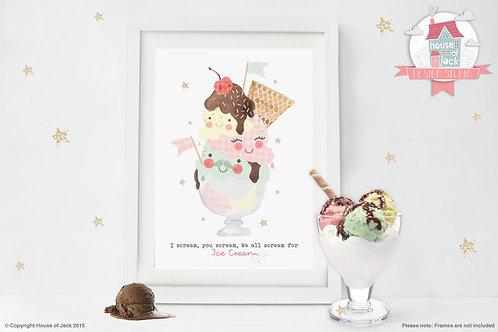 Sundae Ice Cream Personalised Art Print