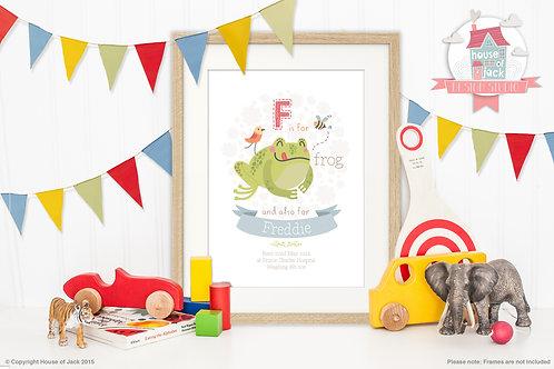 "Animal Alphabet ""F"" Personalised Art Print"