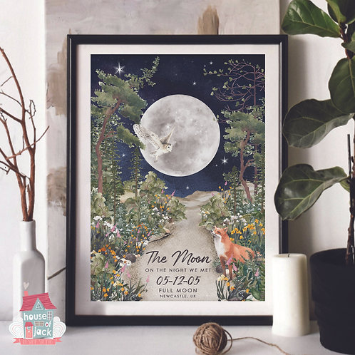 Woodland Moon - Personalised Art Print