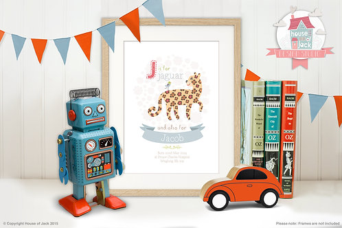 "Animal Alphabet ""J"" Personalised Art Print"