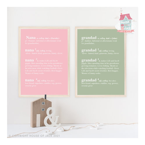 Dictionary Definition Personalised Art Print