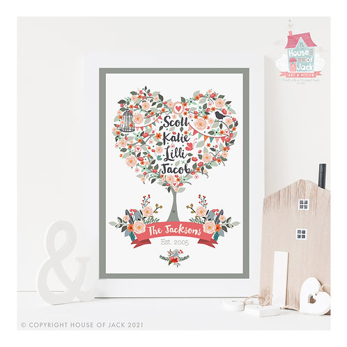Floral Family Tree Personalised Art Print