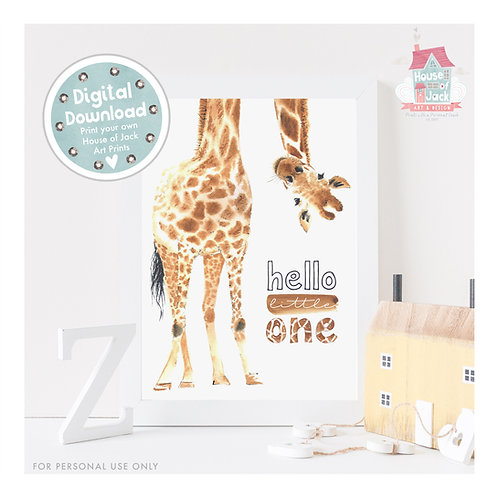 Hello Giraffe Digital Art Print