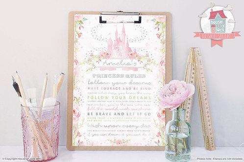 Princess Rules Personalised Art Print