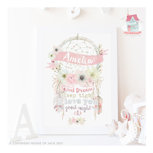 Sweet Dreams Personalised Art Print