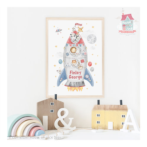 "Animal Birth Details ""Space Rocket"" Personalised Art Print"