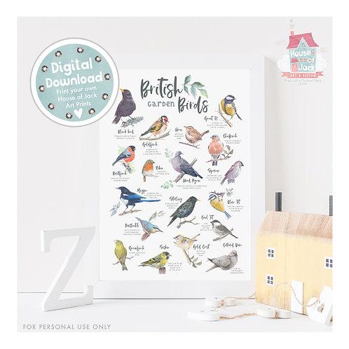 British Nature - Garden Birds Digital Art Print