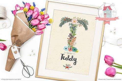 "Floral Initial ""T"" Personalised Art Print"