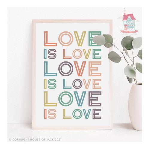 Pride - Love Is Love Quote - Art Print
