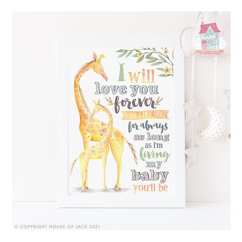 My Baby Giraffe Art Print