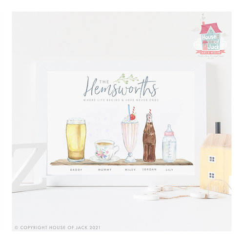Watercolour Family Drinks Personalised Art Print