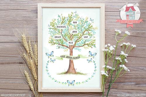 Watercolour Family Tree Personalised Art Print