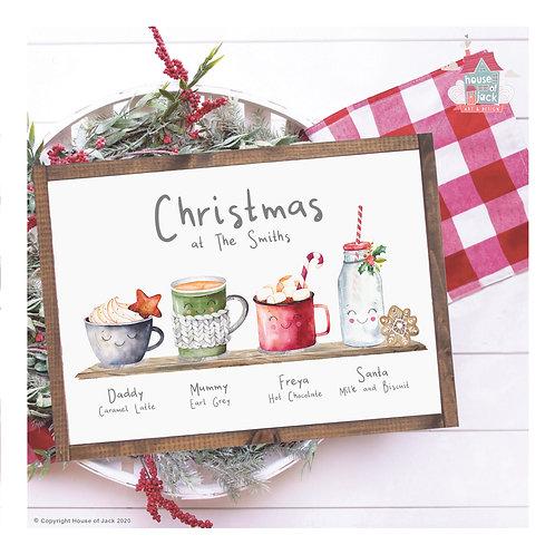 Family Christmas Drinks Personalised Art Print