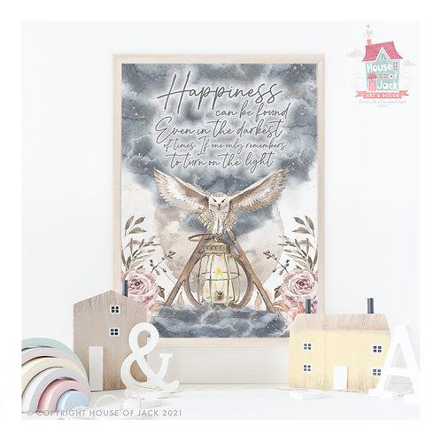Happiness Owl Art Print